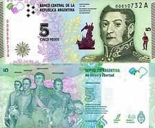 ARGENTINA 5 Pesos Banknote Paper Money World UNC Currency BILL p359 San Martin