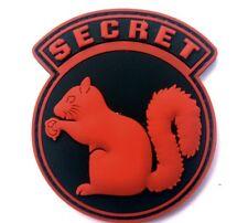 TOP SECRET SQUIRREL BLACK OPS ARMY CIA DEVGRU DELTA SF PVC Hook/Lp PATCH RED