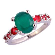 Neu Damen Design Chrysopras Rubin Edelstein Sterlingsilber 925 Ring Gr.16,8 mm