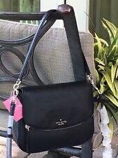 Kate Spade Jackson Medium Flap Shoulder Bag Crossbody Black Leather Gold