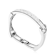 18K White Gold Plated Simulated Diamond Studded Stylish Silver Strip Bangle