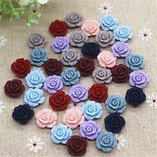 50PCS Mix Colors 13mm Cute Vintage Resin Rose Flowers Flatback Cabochon Embellis
