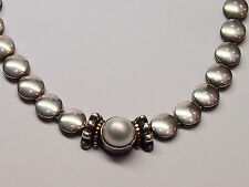 """LAGOS """"CAVIAR"""" 18K GOLD AND 925 STERLING SILVER NECKLACE with PEARL"""