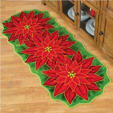 Holiday Season Red Poinsettia Flower Christmas Rug Runner Mat