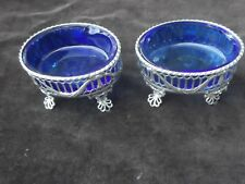 1773 fine pair of Georgian George 111 silver salts with glass liners