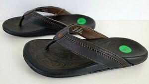 OluKai Hiapo Flip Flops Leather Mens Sz 8 Black Shoes 10101-4040 Outdoor New