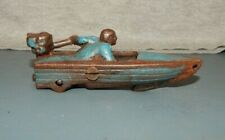 "Cast Iron Speed Outboard Motor Boat w Wheels Die Cast Toy 4"" Evinrude Johnson Bl"