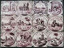 12 Antique Dutch Delft delftware tiles carreau, landscapes + biblical, 1750-1780