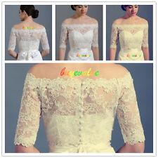 1/2 Sleeves White Ivory Lace Shawl Bolero Wedding Jacket Bridal 6 8 14- 22-28
