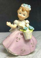 """Vintage Lefton Girl 4"""" Figurine Pink Dress Basket of Blue Flowers #2643 - Japan"""