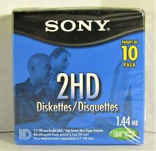 Sony 2HD Floppy Diskettes 1.44MB 10 pack Brand New Sealed