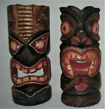 "Set Of 2 Wooden Indonesia Handcrafted & Hand Painted Wall Face Mask  12"" High"