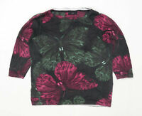 Next Womens Size 18 Floral Cotton Blend Green Butterfly Print Top (Regular)