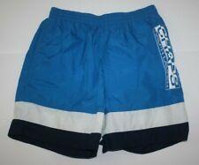 Chap Ralph Lauren Mens Blue White Striped Nylon Swim Shorts Trunks Spellout Sz L