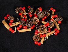 Rustic Pine Cone Red Berry & Cinnamon Stick 9 Ft. Christmas Tree Garland - NIP