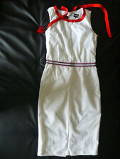 Dolce & Gabbana Sleeveless White Tennis Dress w Red & Blue Trim long size 42