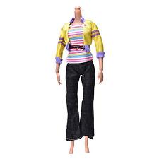 3Pcs/set Fashion Handmade Yellow Coat Black Pant Rainbow Vest for s