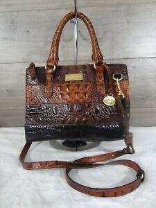 Brahmin Croc Embossed Multi-color Leather Handbag Purse Shoulder Bag