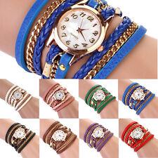 Fashion Women Vintage Rivet Weave Wrap Faux Leather Chain Bracelet Wrist watch