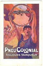 POSTCARD BELGIAN ADVERTISING PNEU COLONIAL BICYCLE TIRES