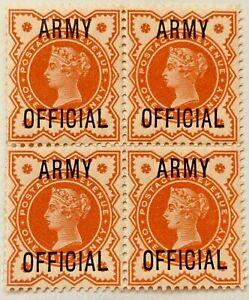 Army Official  ½d SG 041 VERMILION' MNH Mint Block Of Four