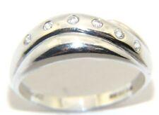 Ladies Womens 9ct 9carat White Gold & Diamond Ring UK Size R 1/2 Hallmarked