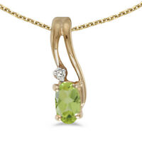 """10k Yellow Gold Oval Peridot And Diamond Wave Pendant with 18"""" Chain"""