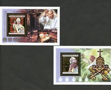 CONGO 2004  GOLD FOL POPE JOHN PAUL II SET OF TWO SOUVENIR SHEETS   MINT NH