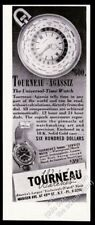 1942 Agassiz universal time & Service Watch photo Tourneau vintage print ad
