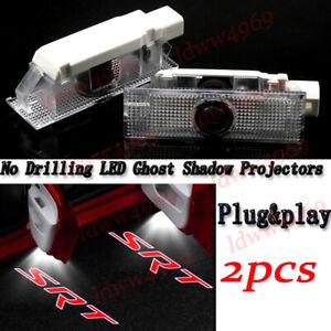 Red SRT Logo Car LED Door Light Laser Projector For Dodge Challenger Coupe 2008+
