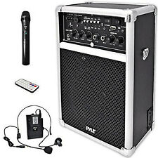 Wireless Pa System Sound Speaker Music Audio Equipment Usb Sd Mp3 Vhf Microphone