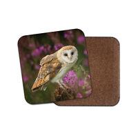 Pretty Barn Owl Coaster - Bird Prey British Wildlife Flowers Animals Gift #15813