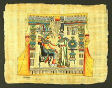 Rare Authentic Hand Painted Ancient Egyptian Papyrus-King Tut & Wife/Gold Shrine