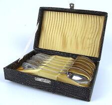 6 alte Gründerzeit Kaffeelöffel in 800 Ag Silber in Box
