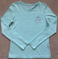 VINEYARD VINES size SMALL Women's Mint Green Long Sleeve Shirt PINK WHALE🌸READ