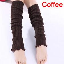 Fashion Women Lady Winter Long Leg Warmers Knit Crochet Leggings Stockings 3c Dark Grey
