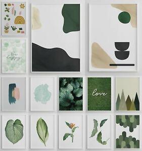 Green Framed Pictures Botanical Wall Art Green Décor Living Room Wall Artwork