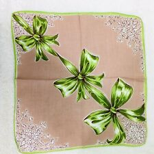 """Vintage Hankie Light Brown Shades of Green Christmas Bows White Flowers 11 3/4"""""""