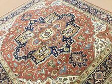 "8'.0"" X 8'.0"" Rust Serapi Persian Oriental Area Rug Square Hand Knotted Wool"