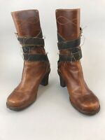 Timberland Brown Leather Ankle Buckle Pull On Heeled Boho Hippies Boots US9 UK7
