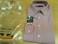 """WEST END BY SIMON CARTER MEN'S SLIM FIT SHIRT 15"""" RED STRIPE NEW RRP £49"""