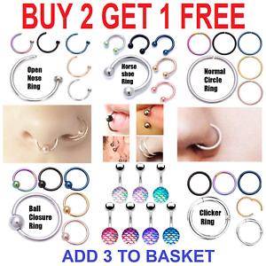 Surgical Steel Nose Ring Clicker Hoop Hinge Segment Ear PIERCING Ring Septum UK
