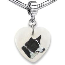 Karelian Bear Dog Heart Mother Of Pearl European Charm Bead For Bracelet Ebs58