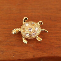 Vintage NAPIER Crystal Rhinestone 10k Gold Plated Turtle Brooch Pin Signed Small