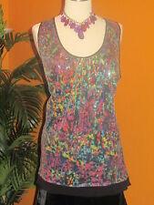 LANE BRYANT NWT $60  women's disco party shirt 2X black multi colors sequin 24