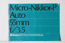 Nikon Micro-Nikkor-P 55mm 1:3.5 Instruction Manual Book - English Blue USED B45