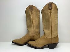 #W1 Vtg Womens Justin Cowbooy Smooth Ostrich Skin Yellow Boots Size 5.5 B