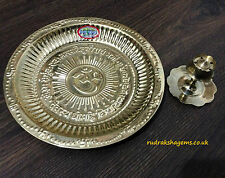 AUM HINDU POOJA AARTI BRASS OM GAYATRI THALI PLATE PRAYER & INCENSE STICK HOLDER