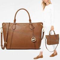 NWT 🍂 Michael Kors Sierra LARGE Leather Satchel Shoulder Bag Luggage Brown Gold