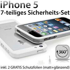 NEU ! Apple iPhone 5 TPU Bumper Case Silikon Schutz Folie Hülle Cover weiss